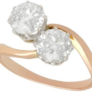 1.57ct Diamond and 18ct Rose Gold Twist Ring - Antique Circa 1910