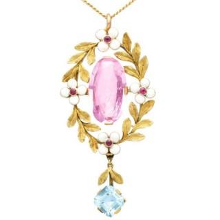 8.84ct Pink Topaz, 1.80ct Aquamarine, 0.10ct Ruby and Enamel, 15ct Yellow Gold Pendant - Antique Circa 1910