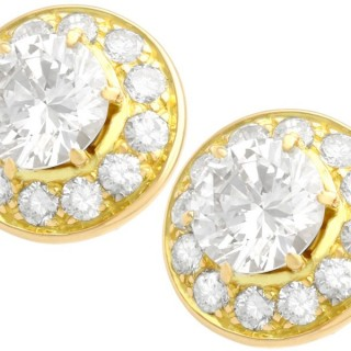 2.65ct Diamond and 18ct Yellow Gold Illusion Earrings - Vintage Circa 1980