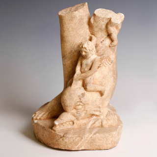 Exquisite Marble Fragment of the Roman Goddess Venus with Putto and Dolphin