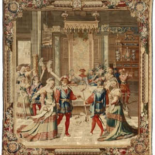 18th century Gobelins tapestry - 'January', from the Months of Lucas