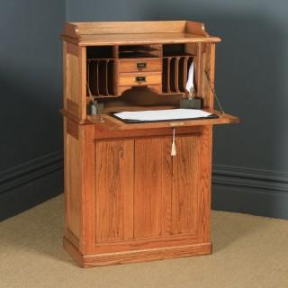 Antique English Edwardian Oak Bureau Pedestal Office Desk (Circa 1910)