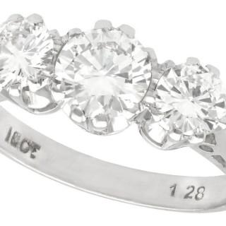 1.89ct Diamond and 18ct White Gold Trilogy Ring - Vintage Circa 1950