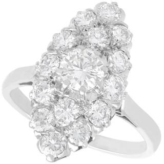 1.78ct Diamond and Platinum Marquise Cluster Ring - Antique Circa 1920