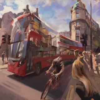 'Turning onto Waterloo Bridge' by Rob Pointon ROI (born 1982)