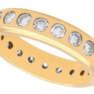 1.76ct Diamond and 18ct Yellow Gold Full Eternity Ring - Vintage Circa 1960