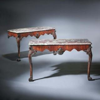 Important Pair of George II Irish Walnut Console Tables, breccia violat Marble