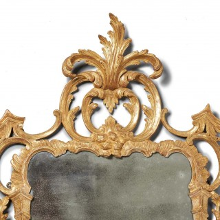 18th C. George III Chippendale Carved Giltwood Rococo Chippendale Mirror