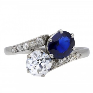 Royal Blue Burmese sapphire and diamond crossover ring, circa 1939.