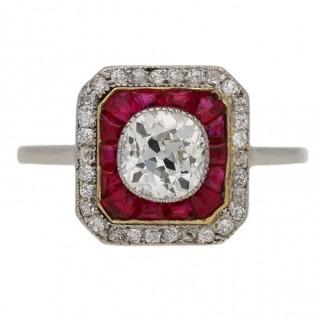Art Deco diamond and ruby target ring, English, circa 1920.