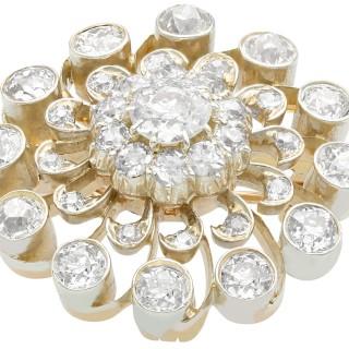 3.76ct Diamond and 9ct Yellow Gold Brooch/Pendant - Antique Circa 1880