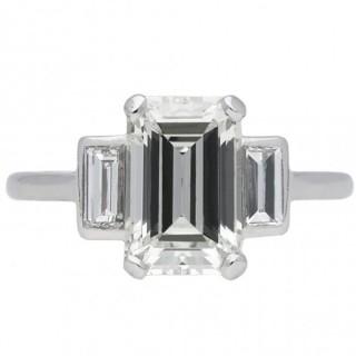Art Deco emerald-cut diamond ring, circa 1925.