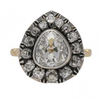 Victorian drop shape diamond cluster ring, English, circa 1880.