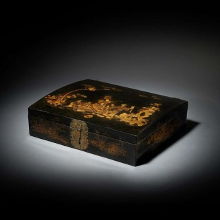18th Century George I Domed Topped Japanned Chinoiserie Falconry Box, circa 1710
