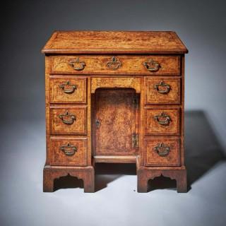 Rare Burr Walnut George II 18th Century Kneehole Desk, circa 1730-1740. England