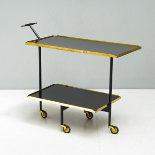 Unique Two Tier Brass and Steel Drinks Trolley