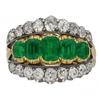 Victorian Colombian emerald and diamond three row ring, circa 1890.