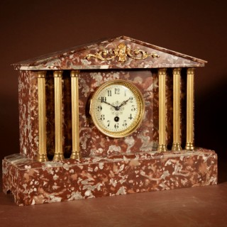 Grand Tour Style Very Decorative French Gilded Brass And Marble Clock Garniture.