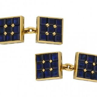 Art deco sapphire cufflinks, 1930.