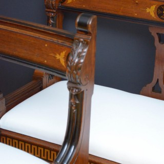 Pair of Victorian Walnut Curved Hall Benches