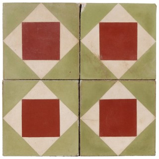 Reclaimed Geometric Encaustic Cement Floor or Wall Tiles 0.88 m2 (9.4 ft2)