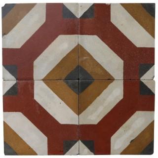 Reclaimed Geometric Encaustic Cement Floor or Wall Tiles 1.96 m2 (21 ft2)