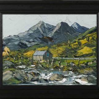'Barn and Stream, Snowdonia' by Martin Llewellyn (born 1963)