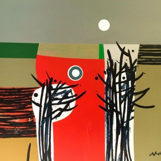 'Red Earth and Moon' by Simon Laurie RSW RGI (born 1964)