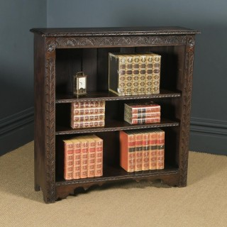 Antique English 17th Century Style Victorian Carved Open 3½ft Bookcase Shelf (Circa 1890)