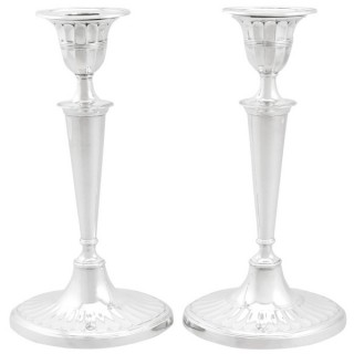Sterling Silver Candlesticks - Adams Style - Antique Edwardian (1902)