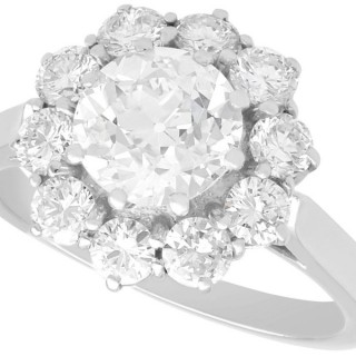 2.80 ct Diamond and Platinum Cluster Ring - Antique and Vintage