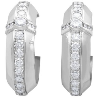 3.01ct Diamond and 18ct White Gold Hoop Earrings - Vintage Circa 1950