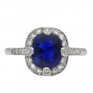 Edwardian Royal Blue Burmese sapphire and diamond cluster ring, circa 1915.