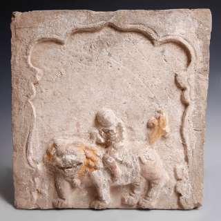 Rare Song Dynasty Terracotta Tile with Marker's Hand Print
