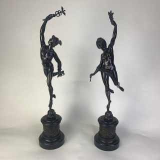 Large pair of bronze figures of Murcury and Fortuna