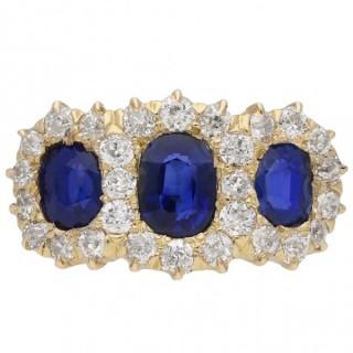 Victorian sapphire and diamond triple cluster ring, circa 1880.