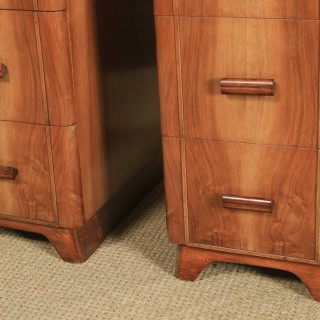 Antique Pair of English Art Deco Figured Walnut Bedside Cabinet Chests Tables Nightstands (Circa 1935)