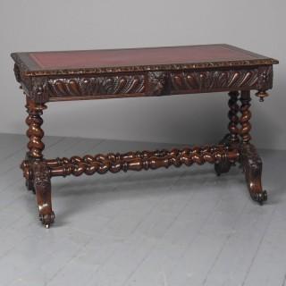 Antique Oak Flemish Writing Table