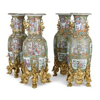 Set of four large gilt bronze mounted Chinese porcelain vases