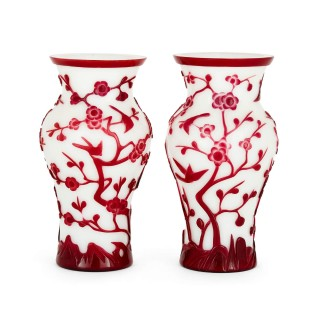 Pair of red-on-white Chinese Peking glass vases
