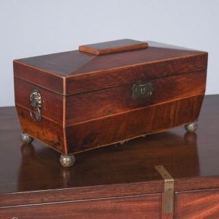 Georgian Mahogany Sarcophagus Shape Tea Caddy