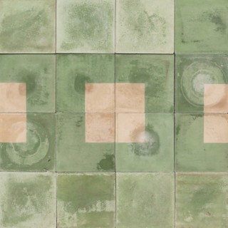 Reclaimed Green and Cream Square Cement Floor or Wall Tiles 4.1 m2 (44 ft2)
