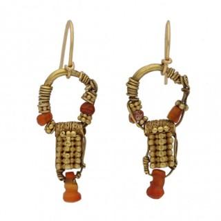 Ancient Parthian carnelian earrings, circa 2nd century BC-1st century AD.