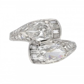 Diamond crossover ring, circa 1940.