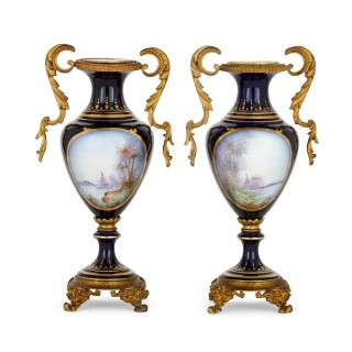 Pair of porcelain and gilt metal Neoclassical style vases