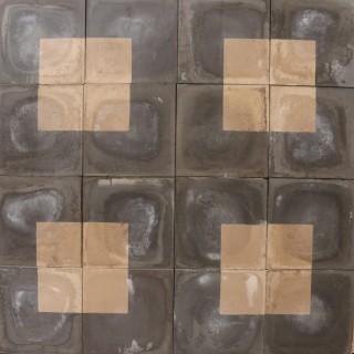 Reclaimed Monochrome Black and Cream Square Pattern Encaustic Tiles 2.2 m2 (23 ft2)
