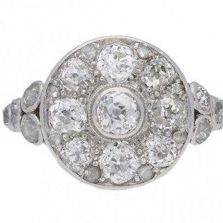 Edwardian diamond coronet cluster ring, circa 1910.