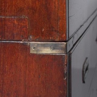 Victorian Teak Two Part Military Chest