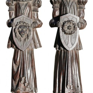 A Pair of 18th Century Hand Carved Oak Figures