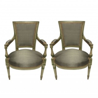 A PAIR OF FRENCH DIRECTOIRE STYLE PAINTED ARMCHAIRS